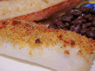 Simple baked cod, with Italian bread crumb topping.