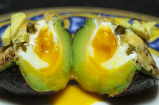 A cross section of my Avocado Bombs.