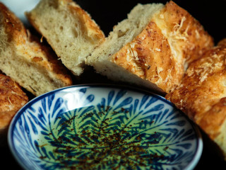 Some tasty home/boat made Focaccia bread with Italian butter!!