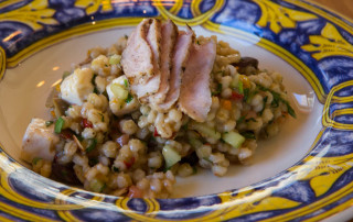 This is one of the dishes Amanda produced out of thin air, grilled pork with a barley cucumber and feta salad. Mmmmm!!!!